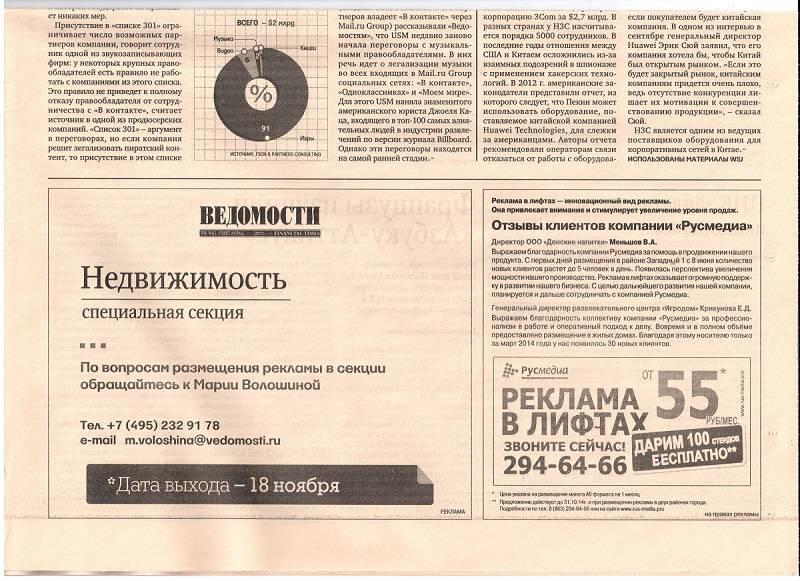 реклама в лифтах.ведомости