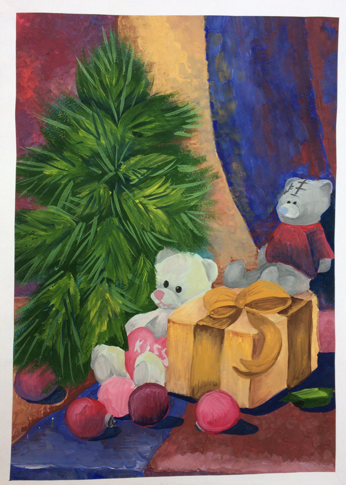 победители конкурса Самый лучший Новый год рисунок в лифте