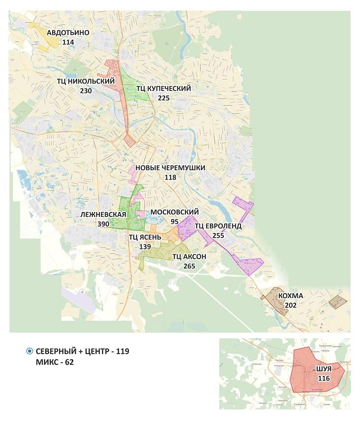 карта районов рекламы в лифтах в Иваново